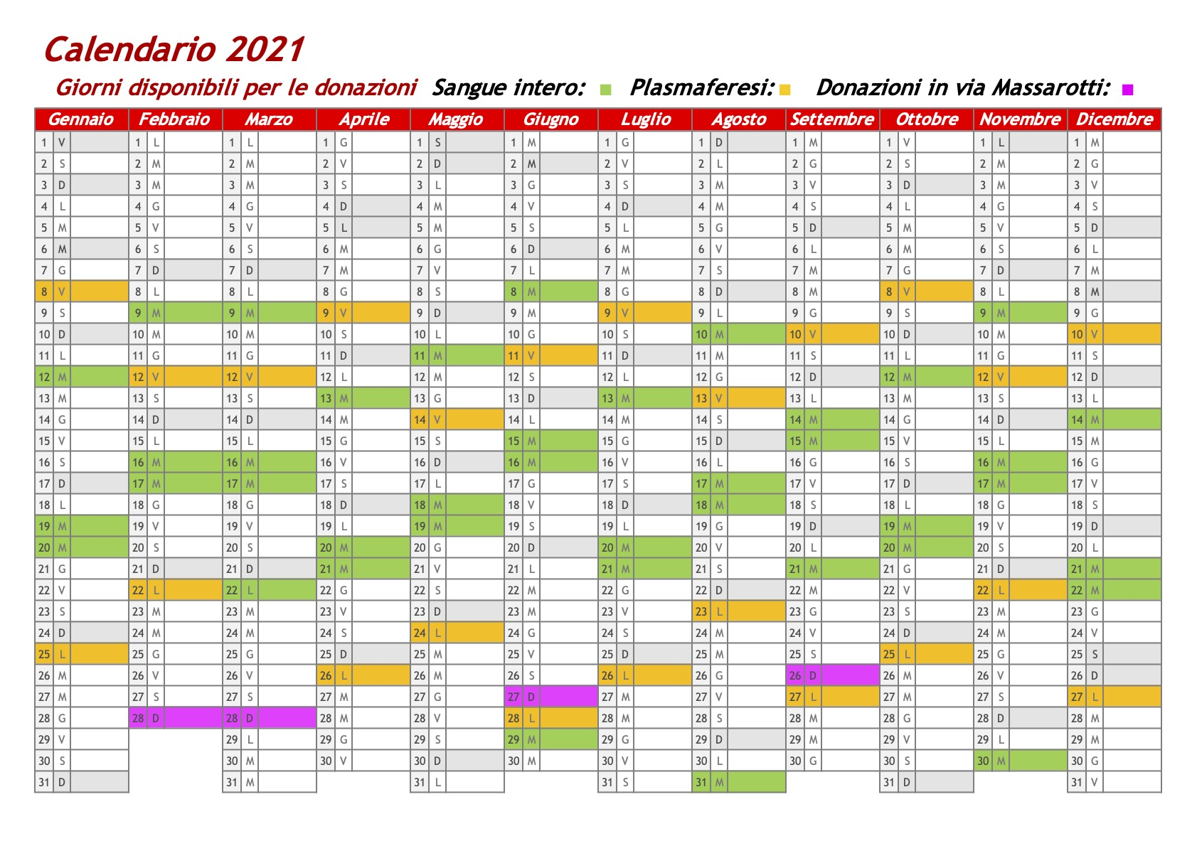 Calendario donazioni 2021